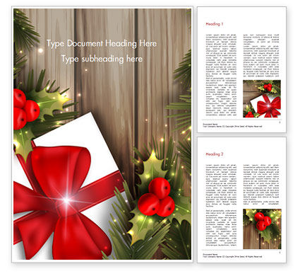 Cute Christmas Gift Word Template, 15340, Holiday/Special Occasion — PoweredTemplate.com