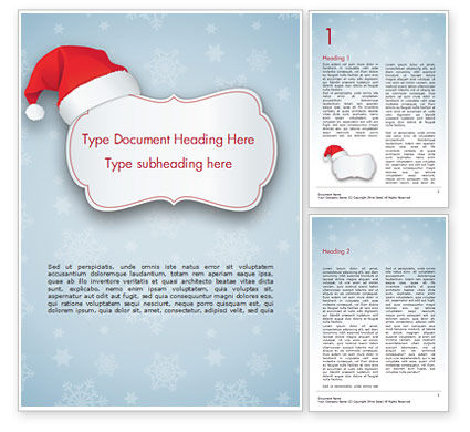 Snowflake Ornament and Santa Hat Word Template, 15341, Holiday/Special Occasion — PoweredTemplate.com