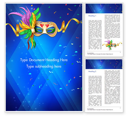 Carnival Mask Word Template, 15342, Holiday/Special Occasion — PoweredTemplate.com