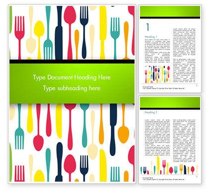 Cutlery Pattern Word Template, 15348, Food & Beverage — PoweredTemplate.com