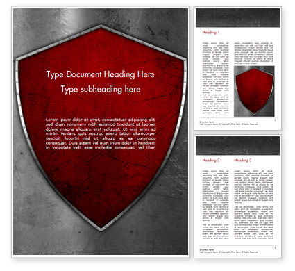 Red Shield Word Template, 15362, Careers/Industry — PoweredTemplate.com