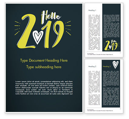 Holiday/Special Occasion: Hello 2019 Word Template #15365