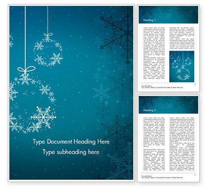 Snowflakes Crystal Balls Word Template, 15367, Holiday/Special Occasion — PoweredTemplate.com