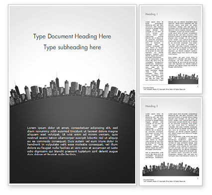 Cityscape Silhouette Word Template, 15372, Construction — PoweredTemplate.com