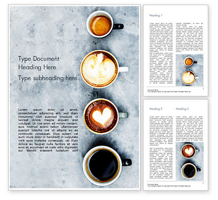 Food & Beverage: Aerial View of Various Coffee Word Template #15380