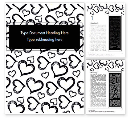 Black Hearts Word Template, 15390, Holiday/Special Occasion — PoweredTemplate.com