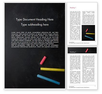 Education & Training: Three Colorful Chalk Sticks Word Template #15400