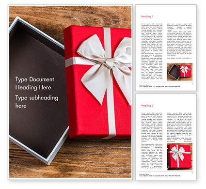 Holiday/Special Occasion: Open Red Gift Box Word Template #15410