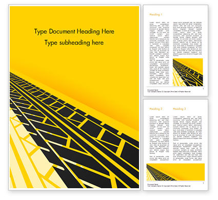 Abstract/Textures: Tire Tracks on Yellow Background Word Template #15416