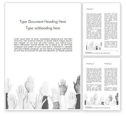 Education & Training: Raised Hands Word Template #15421