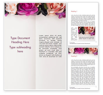 Holiday/Special Occasion: Notepad Decorated with Flowers Word Template #15424