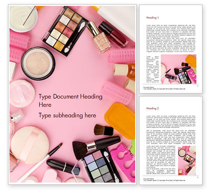 Careers/Industry: Female Cosmetic Accessories Word Template #15433
