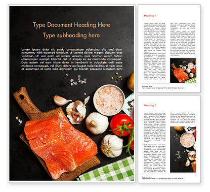 Food & Beverage: Delicious Portion of Fresh Salmon Word Template #15434