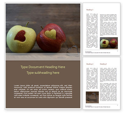 Food & Beverage: Apples with Hearts Word Template #15437