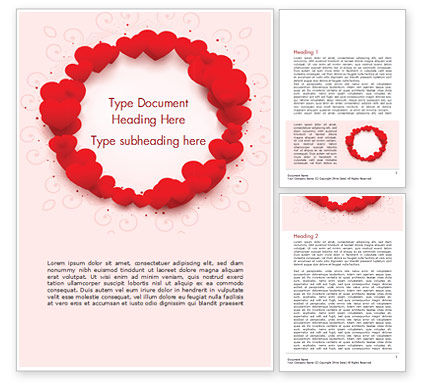 Holiday/Special Occasion: Circle of Hearts Word Template #15438