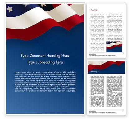 America: 在蓝色背景的美国旗子Word模板 #15443