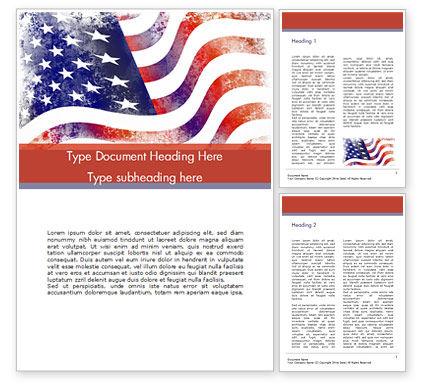 America: Modelo do Word - bandeira envelhecida eua #15450