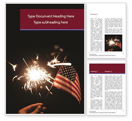 America: 有闪烁发光物和美国旗杆的手Word模板 #15453