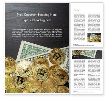Financial/Accounting: Bitcoins and Dollars Word Template #15456