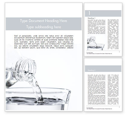 Food & Beverage: Filling the Glass with Water Word Template #15466