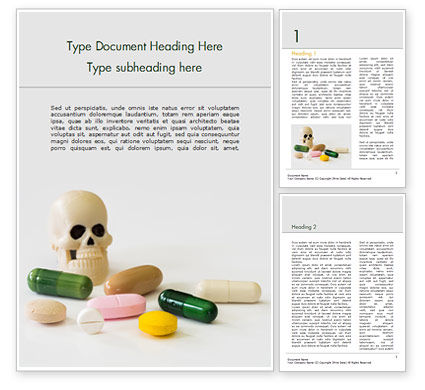 Medical: Pills and Skull Word Template #15468