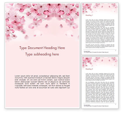 Nature & Environment: Delicate Sakura Flowers Word Template #15470