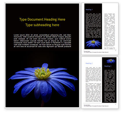 Nature & Environment: Blue Flower Word Template #15489