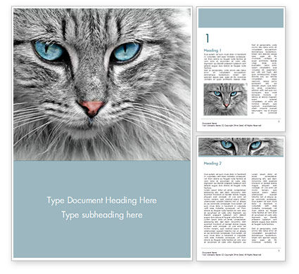 General: Cat with Blue Eyes Word Template #15490