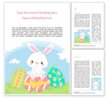 Holiday/Special Occasion: Adorable Easter Bunny Word Template #15513