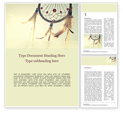 Art & Entertainment: Dream Catcher Word Template #15521