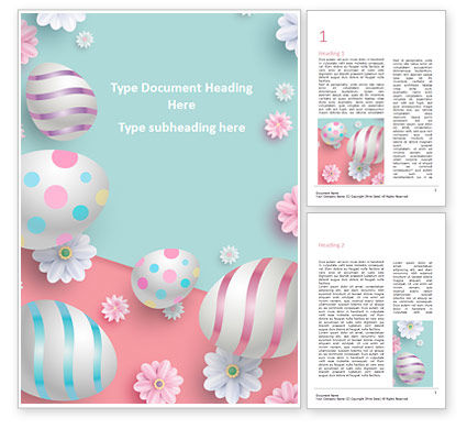 Holiday/Special Occasion: 3D Easter Background Word Template #15524