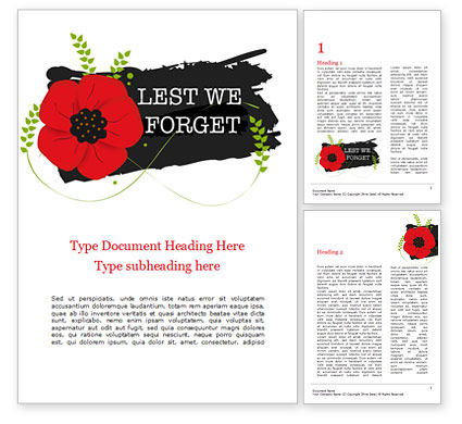 Holiday/Special Occasion: Anzac Day Background Word Template #15525