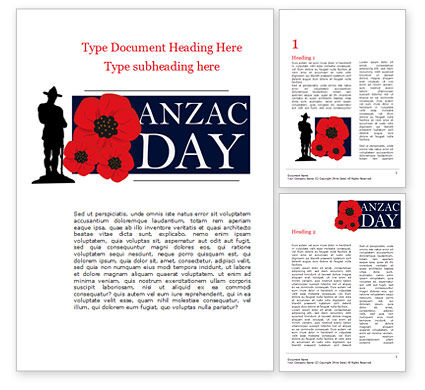 Holiday/Special Occasion: Background for Anzac Day Word Template #15530