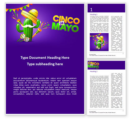 Holiday/Special Occasion: Holiday Cinco de Mayo Word Template #15536