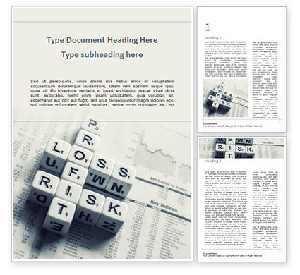 Business Concepts: Winstverlies En Risicocrosswordt Blokken Op Tafel Word Template #15537