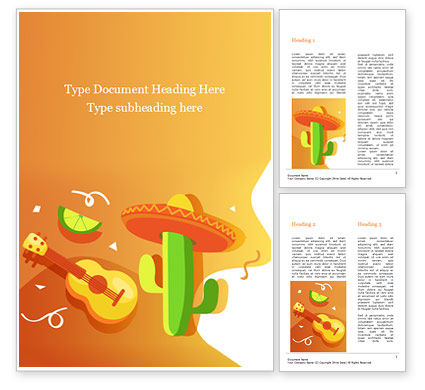 Holiday/Special Occasion: Mexican Fiesta Word Template #15540