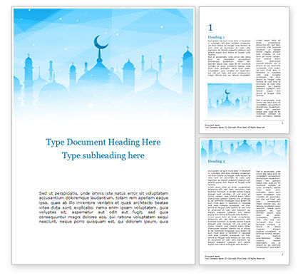 Holiday/Special Occasion: Ramadan Kareem Greeting Background Word Template #15546