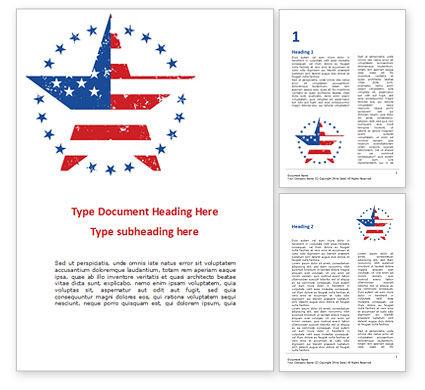 America: Modelo do Word - estrela com bandeira dos eua #15562