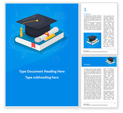 Education & Training: Graduation Cap with Diploma and Book Word Template #15563