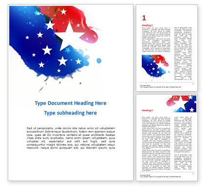 America: 红色和蓝色油漆斑点上的星星Word模板 #15564