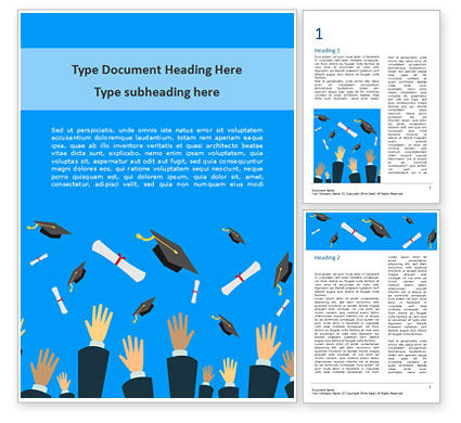 Education & Training: Hands Throwing Graduation Hats and Diplomas in the Air Word Template #15567