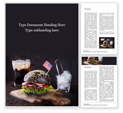 Food & Beverage: Hamburger Met Een Zwart Broodje Word Template #15568