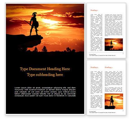 Education & Training: Spartan Warrior Silhouette Word Template #15569