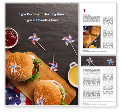 Food & Beverage: Top View of Hamburgers and Sauces Word Template #15570