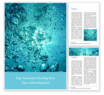 Nature & Environment: Under Water Bubbles Word Template #15581