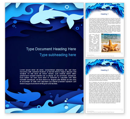 Nature & Environment: Ocean Paper Cut Style Word Template #15585