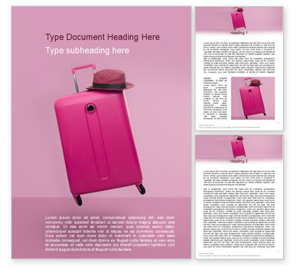 Careers/Industry: Pink Suitcase Word Template #15597