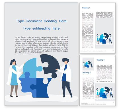 Education & Training: People Connecting Jigsaw Pieces of a Head Together Word Template #15598