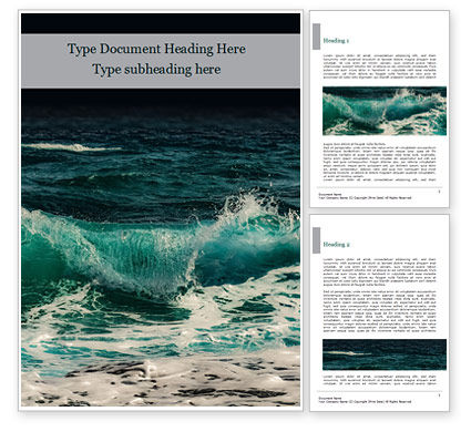 Nature & Environment: Raging Sea Waves Word Template #15603