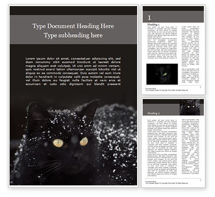 General: Beautiful Black Cat Word Template #15604